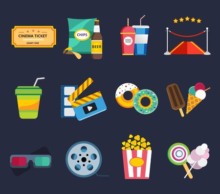 movie screen: Movie vector icons set. Movie icons isolated, movie food and drinks. Clapboard, tickets film, cakes and drinks vector icons. Ice cream, glasses, chips, beer. Cinema movie icons, cinema vector 3d illustration