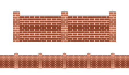 Briques de pierre clôture isolé sur fond blanc. pierre de jardin clôtures illustration vectorielle. Clôtures balustrade vecteur isolés. Pierre briques clôture, longue clôture, vecteur clôture. Construction en pierres clôture silhouette isolé Banque d'images - 48000291