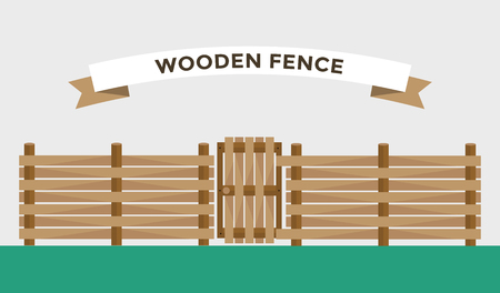 wire fence: Wooden fence isolated on background. Garden fences vector illustration. Fences railing vector isolated. Wooden fence, long fence, vector fence. Wooden fence silhouette construction isolated