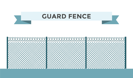 wire fence: Metallic fence isolated on background. Fences vector illustration. Fences railing vector isolated. Metall fence, long fence, vector fence. Fence silhouette construction isolated Illustration