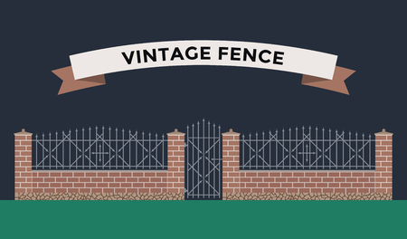 white picket fence: Metallic and brocks fence isolated on night background. Fences vector illustration. Fences railing vector isolated. Metall fence, long fence, vector fence. Fence silhouette construction isolated Illustration