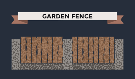 picket fence: Wooden and stone fence isolated on night background. Fences vector illustration. Fences railing vector isolated. Metall fence, long fence, vector fence. Fence silhouette construction isolated