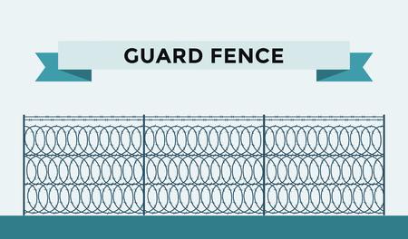 wire fence: Metallic fence isolated on background. Fences vector illustration. Fences railing vector isolated. Metall fence, long fence, vector fence. Fence silhouette construction isolated Illustration