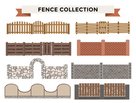 iron fence: Different designs of fences and gates isolated on a white background. Fences and gates illustration. Fences and gates vector isolated. Wooden fence, metal fence, stone fence. Fence house buildings