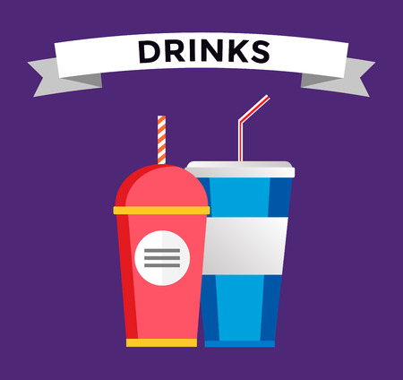 food and drinks: Fast food drinks pack set. Fruit drink logo icon template. Fresh juice, coke drink, vegetarian drinks, cold water, objects. Food logo, food icon, drinks logo, drinks icon, soda glass, coke drink