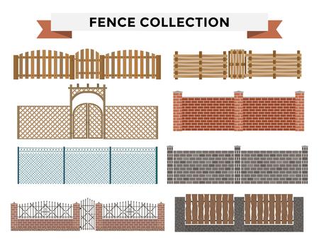 Verschillende ontwerpen van hekken en poorten die op een witte achtergrond. Hekken en afrasteringen illustratie. Hekken en afrasteringen vector geïsoleerd. Houten hek, metalen hek, stenen omheining. Hek huis gebouwen