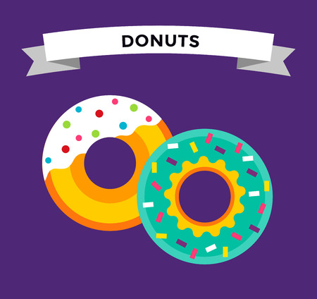 sweet background: Donut vector isolated. Donuts fast food restaurant. Deserts food cakes donuts. Sweet donuts with sugar and testy cream. Bakery donut, cake food and sweet Illustration