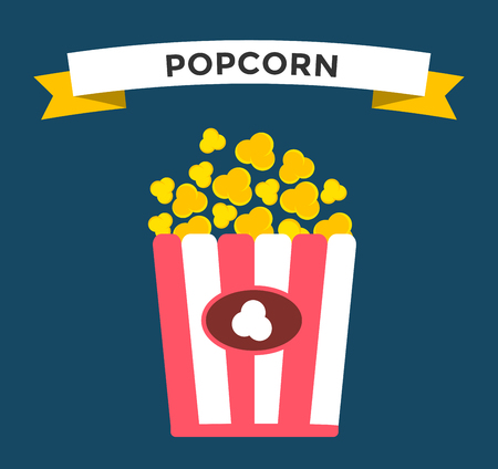 movie and popcorn: Popcorn box vector icon. Popcorn isolated flat style. Popcorn cinema  vector illustration. Red box popcorn opened. Popcorn logo, popcorn cinema, popcorn box, popcorn pack