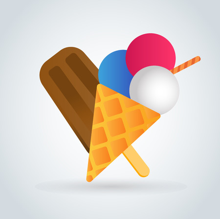 waffle ice cream: Ice cream vector icons set. Icecream isolated vectors. Candy ice cream. Tasty frozen, cartoon vector, set. Ping, red, blue, green, red ice cream. Ice cream scoops icons. Ice cream shop