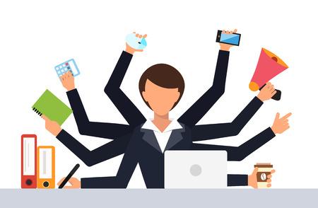ilustración vectorial de trabajo estrés en el trabajo de oficina. El estrés en el trabajo. día de la mujer de negocios. Vida de la oficina chica de negocios. Situación de asunto. Gente en la acción. Ordenador, mesa, muchas manos. Gente de la oficina. El estrés laboral