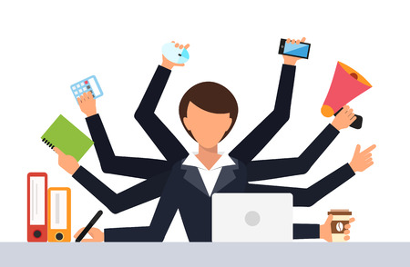 Office job stress work vector illustration. Stress on work. Business woman day. Office life business girl. Business situation. People in action. Computer, table, many hands. Office people. Stress job Иллюстрация
