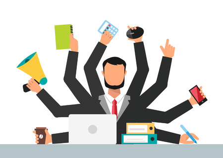 many hands: Office job stress work vector illustration. Stress on work. Business man day. Office life business man. Business situation. People in action. Computer, table, many hands. Office people. Stress on job Illustration