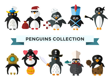 Penguin set vector illustratie. Cartoon grappige pinguïns verschillende situaties. Penguin clown, piraat, kerstmis santa, kapitein, matroos, cook.Cartoon penguin vector set illustration.Penguin vector vogels