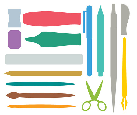 office tools: Flat stationery drawing tools, pen set. Paintbrushes, felt-tip, pencil and marker highlighter collection. Pens vector set. School pens tools. Artistic tools brushes. Office tools. Education tool icons