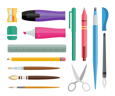 Flat stationery drawing tools, pen set. Paintbrushes, felt-tip, pencil and marker highlighter collection. Pens vector set. School pens tools. Artistic tools brushes. Office tools. Education tool icons