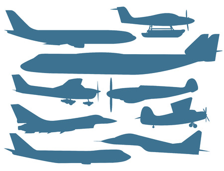 commercial airline: Civil aviation travel passenger air plane vector silhouette. Civil commercial airplane flying vector illustration.Travel plane blue icons isolated white background.Cargo transportation airplane Illustration
