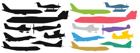 commercial airline: Civil aviation travel passenger air plane colorful vector silhouette.Civil commercial airplane flying vector illustration.Travel plane icons isolated on white background. Cargo transportation airplane