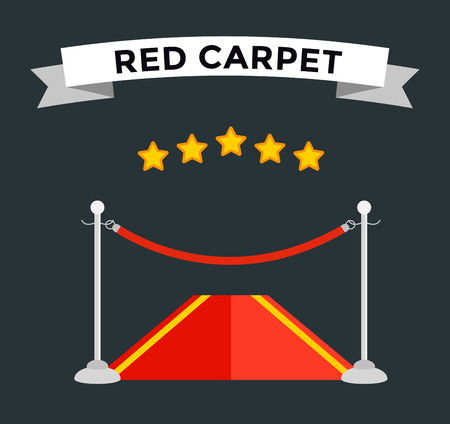 red black: VIP zone red carpet vector illustration. Event enter with star. Success, theater, luxury, VIP. Vector Red Carpet isolated on black background. Red carpet vector movie cinema stars. Museum place, red carpet vector