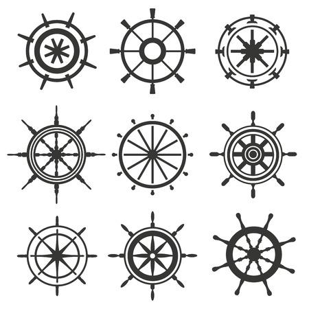 Vector roer zwart en wit vlak iconen set. Roer wiel illustratie. Boot wiel controle roer vector iconen set. Roeren, schepen, zee, wiel, ronde, controle, jacht, cruise. Rudder icoon. Wiel pictogrammen Stock Illustratie
