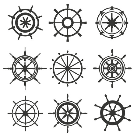 vector wheel: Vector rudder black and white flat icons set. Rudder wheel illustration. Boat wheel control rudder vector icons set. Rudders, ships, sea, wheel, round, control, yacht, cruise. Rudder icon. Wheel icons
