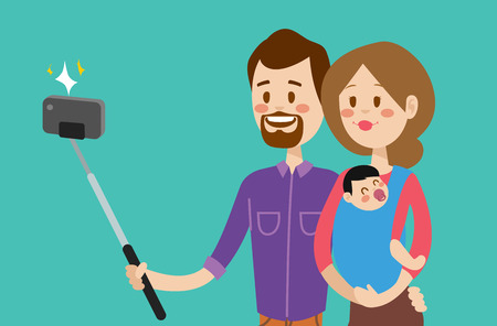 girls having fun: Selfie family portreit vector illustration. Selfie shot man, woman, small kid. Vector selfie people set. Selfie vector concept modern family with selfie photo camera. Family smile, family concept