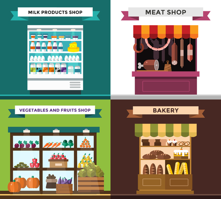 food and beverages: Fruit, vegetables, milk products, meat, bakery shop stall vector set. Fruit and vegetables market view. Milk products on shop stall. Meat shop vector illustration.Food supermarket,food shop,food store