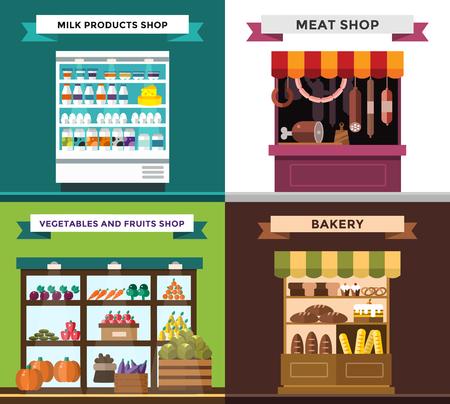 negocios comida: Frutas, verduras, productos lácteos, carne, panadería set parada del vector. Las frutas y verduras vista del mercado. Los productos lácteos en tienda de la parada. Carne tienda vector illustration.Food supermercado, supermercado, tienda de alimentos Vectores