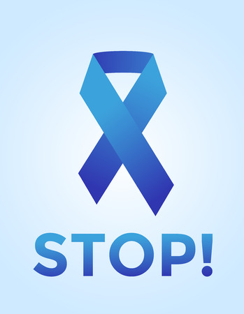 cancer research: Stop cancer medical poster concept. Cancer blue ribbon, breast cancer awareness symbol, isolated on background. Vector illustration of cancer ribbon for people cancer and cancer symbol. Clinic concept