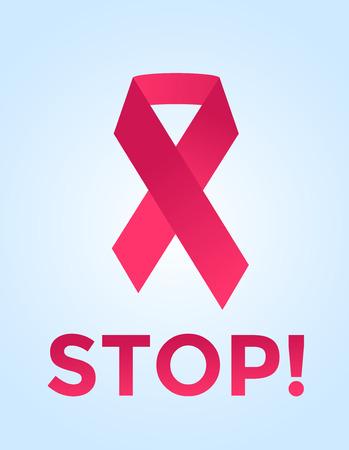 rak: Zatrzymaj raka taśmą logo medycznej koncepcji ikony. wstążki Rak, Rak piersi świadomość symbol, samodzielnie na tle. Rak wstążka logo ludzie raka i rak symbol ikona. kliniki medyczne koncepcja Ilustracja