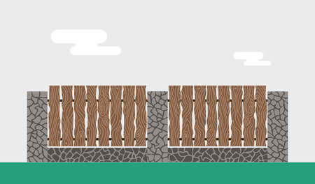 white picket fence: Wooden and stone fence isolated on background. Fences vector illustration. Fences railing vector isolated. Metall fence, long fence, vector fence. Fence silhouette construction isolated Illustration