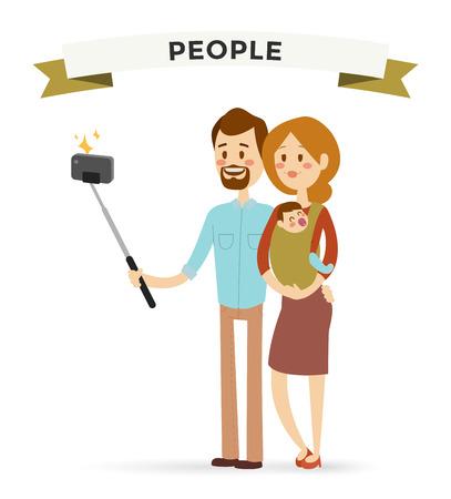 家庭: 自拍家庭portreit矢量插圖。自拍拍男人,女人,孩子小。向量自拍照的人設置的。自拍矢量概念,現代家庭使用的自拍照片相機。家庭的微笑,家庭觀念 向量圖像