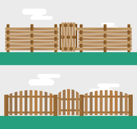 prison house: Wooden fence isolated on background. Garden fences vector illustration. Fences railing vector isolated. Wooden fence, long fence, vector fence. Wooden fence silhouette construction isolated