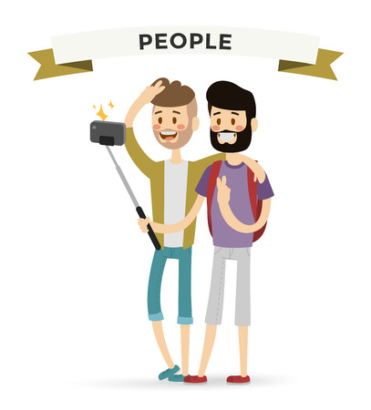 gay male: Selfie shots mans gays couple vector illustration. Selfie shot man, friends, gays. Vector selfie people set. Selfie vector concept modern life with selfie photo camera. Selfie smile, selfie concept