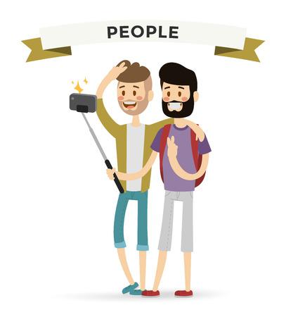 Selfie shots mans gays couple vector illustration. Selfie shot man, friends, gays. Vector selfie people set. Selfie vector concept modern life with selfie photo camera. Selfie smile, selfie concept