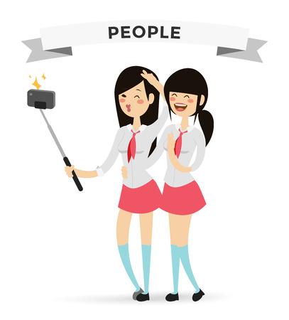 donna innamorata: Scatti Selfie yong ragazze della scuola adolescente illustrazione vettoriale. Coppia Selfie girato ragazze, gli amici. Vector selfie persone serie. Selfie concetto di vettore vita moderna con selfie macchina fotografica. Selfie sorriso ragazze