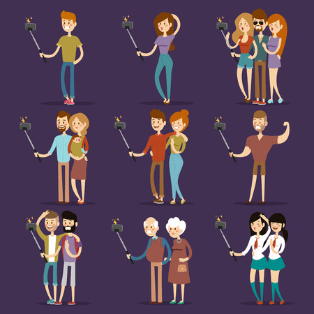 talking phone: Selfie people isolated on blue background. People walking vector illustration. Selfie shot man, woman, teenagers, pensioners, gays. Vector selfie people set. Selfie vector concept modern life with selfie photo camera. Selfie