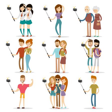 woman on phone: Selfie people isolated on white background. People walking vector illustration. Selfie shot man, woman, teenagers, pensioners, gays. Vector selfie people set. Selfie vector concept modern life with selfie photo camera. Selfie