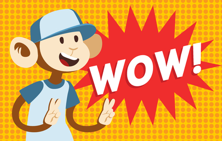 wow: Wow text monkey classic pop art design vector illustration. Wow text isolated on modern colorful background. Retro WOW text and happy monkey. Bubble with WOW text and monkey. WOW vector illustration Vectores