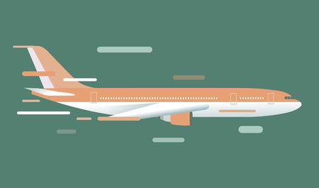 airplane wing: Civil aviation travel passenger air plane vector illustration. Civil commercial airplane flying vector silhouette. Travel plane isolated on background. Cargo transportation airplane vector isolated