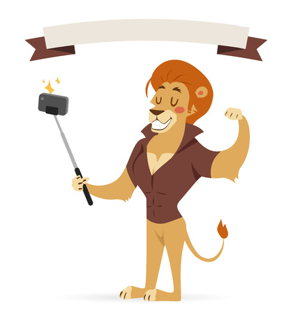 telephone cartoon: Selfie photo shot lion young boy power strong man illustration on white background.