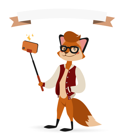 fox animal: Selfie photo fox boy hipster with glasses vector portrait illustration on white background.