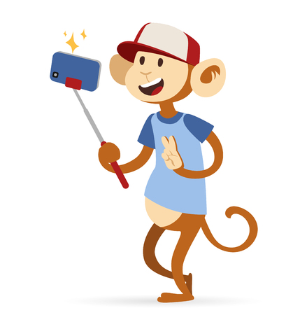 monkey face: Selfie photo monkey ape boy hipster with cap vector portrait illustration on white background.