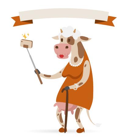 vaca caricatura: Selfie foto vaca vieja ilustraci�n vectorial retrato sobre fondo blanco.