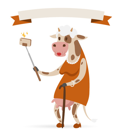 cow cartoon: Selfie photo cow old woman vector portrait illustration on white background.