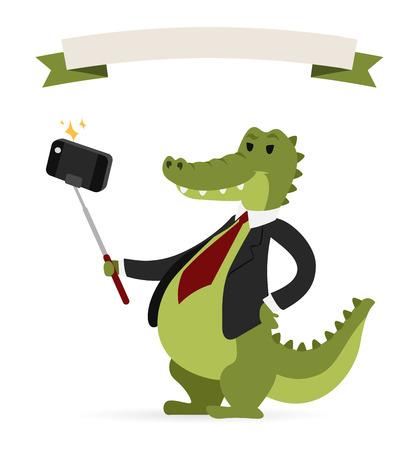 crocodile: Selfie photo crocodile business man vector portrait illustration on white background.