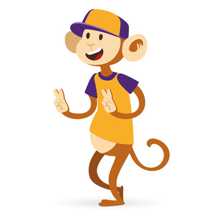 smart boy: Selfie photo monkey ape boy hipster with cap vector portrait illustration on white background.
