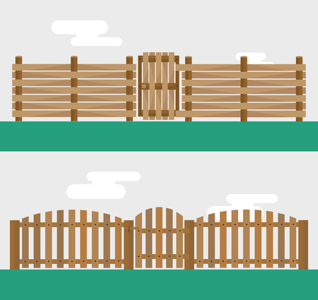 Wooden fence isolated on background.