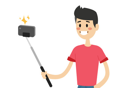 smart boy: Selfie photo shot man or boy vector portrait illustration on white background.
