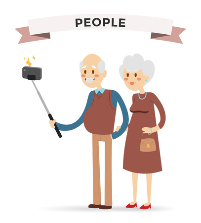 old phone: Selfie photo shot grandpa and grandma vector portrait illustration on white background.