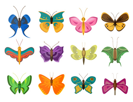 pink and black: Colorful butterflies flat style vector collection.